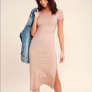 Lulu's Just You Washed Mauve Backless Midi Dress
